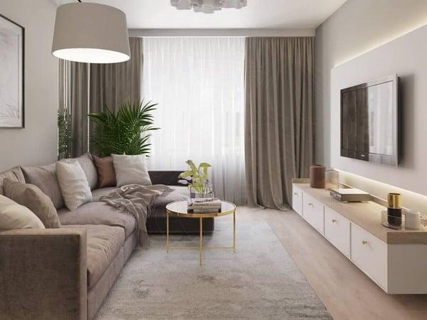 New Interior Decoration Living Room Design 16 Square Meters