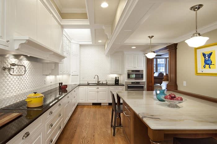 Dark Kitchen Countertops With White Cabinets