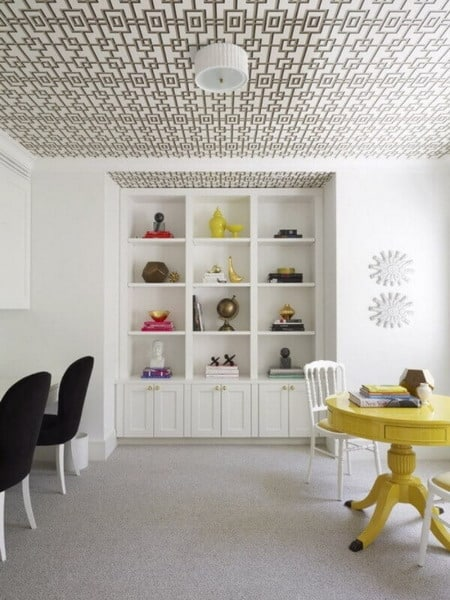 Wallpapering on the ceiling